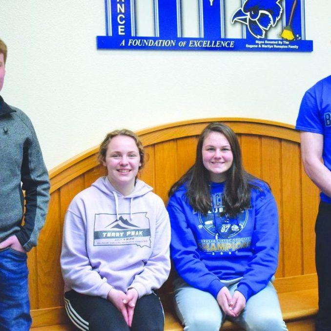 Left to right: Boys Stater Kelton Anderson, Girls Stater Larissa Meier, Girls State Alternate Graison Pfeiffer, Boys State Alternate Ritter Oestreich.