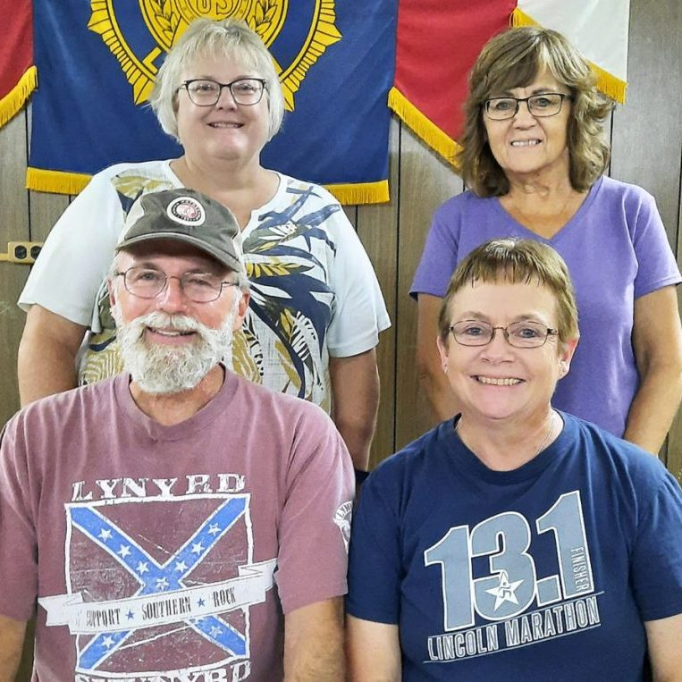 Pierce Historical Society 2021-22 officers, front row, left to right: Lyndon DeJong, Sheryl Buss. Back row: Sue Warneke, Barb Oppliger.
